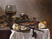 Still Life with Wine Glass Herring and Bread 1647 By Pieter Claesz