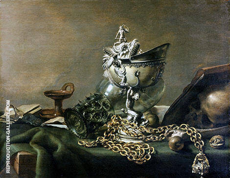 Still Life with Nautilus Cup and Chain By Pieter Claesz