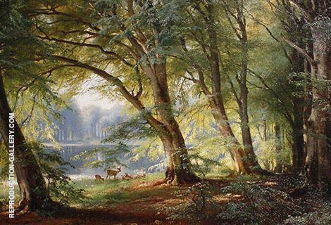 Deer Beside a Lake Painting By Carl Frederic Aagaard