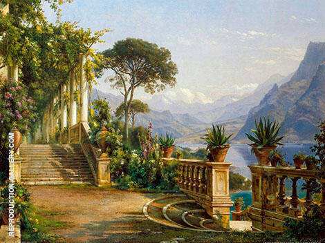 Lodge on Lake Como Painting By Carl Frederic Aagaard