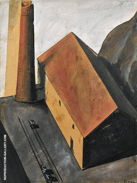 Suburb with Smokestack 1924 By Mario Sironi