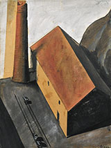 Suburb with Smokestack 1924 By Mario Sironi
