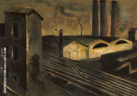 Urban Landscape with Chimneys 1921 By Mario Sironi