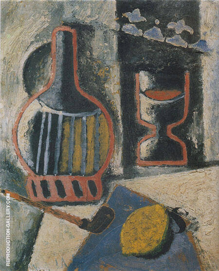 Trophy Still Life Lemon Pipe etc c1914 By Ardengo Soffici