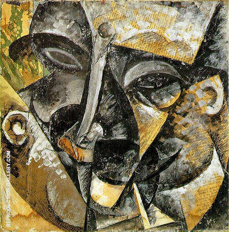 Dynamism of a Mans Head By Umberto Boccioni