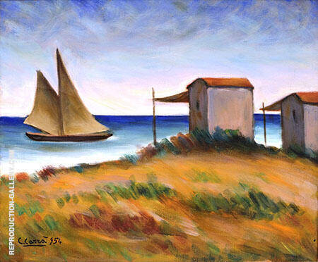 Marina Con Veliero e Capanni 1954 Painting By Carlo Carra