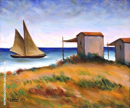 Marina Con Veliero e Capanni 1954 By Carlo Carra