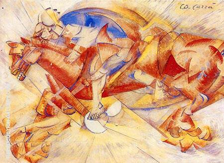 The Red Horseman 1913 Painting By Carlo Carra - Reproduction Gallery