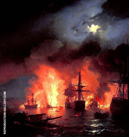 Battle of Cesme at Night 1856 By Ivan Aivazovsky