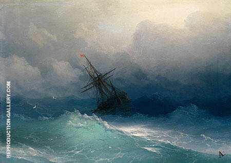 Ships in a Storm Painting By Ivan Aivazovsky - Reproduction Gallery
