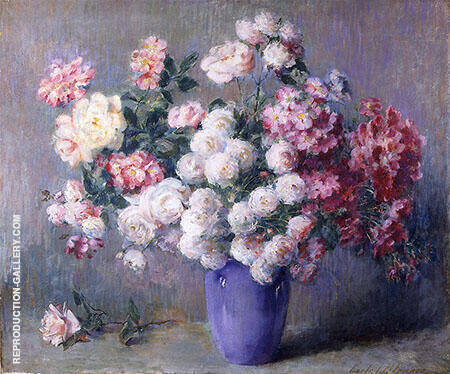 Roses in a Blue Vase By Carle John Blenner