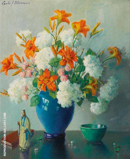 Still Life with Vase of Flowers on a Table By Carle John Blenner