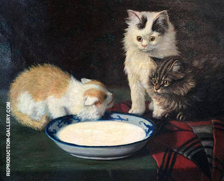 Three Kittens Painting By Sidney Lawrence Brackett - Reproduction Gallery