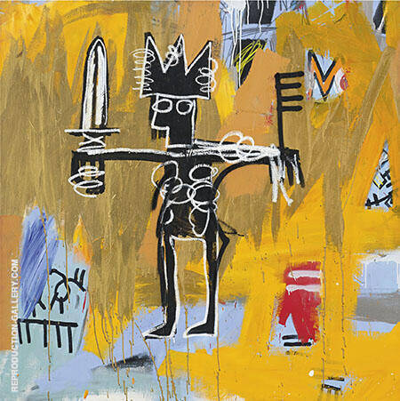 Untitled Julius Caesar on Gold By Jean-Michel-Basquiat