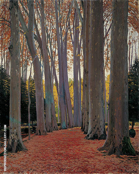 Avenue of Plane Trees Painting By Santiago Rusinol - Reproduction Gallery
