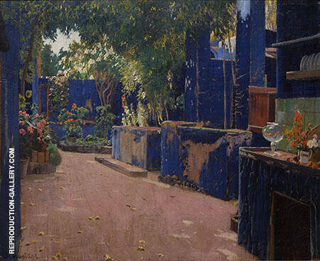Blue Courtyard Arenys de Munt By Santiago Rusinol