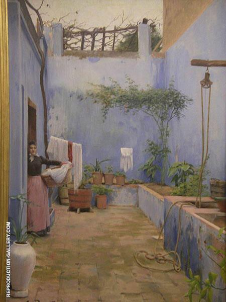 Blue Patio Montserrat By Santiago Rusinol