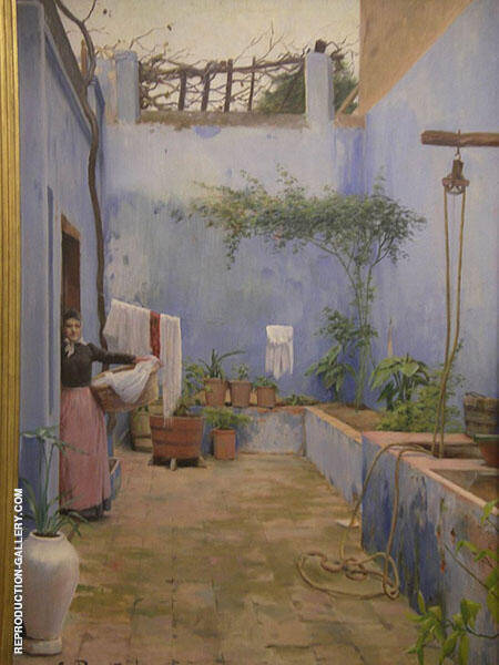 Blue Patio Montserrat By Santiago Rusinol