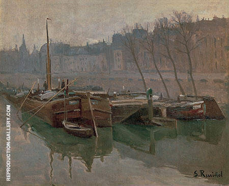 Boats on The Seine Painting By Santiago Rusinol - Reproduction Gallery