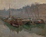Boats on The Seine By Santiago Rusinol