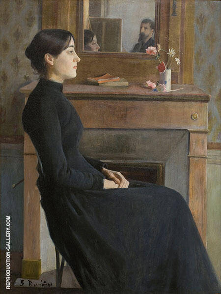Portrait of a Young Woman (Artist and Model in Mirror) By Santiago Rusinol