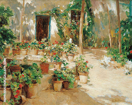 The Courtyard Painting By Santiago Rusinol - Reproduction Gallery