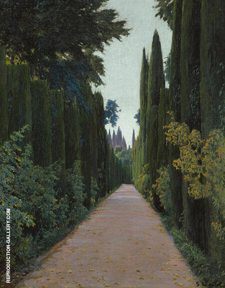 The Cyrpress Fountain Painting By Santiago Rusinol - Reproduction Gallery