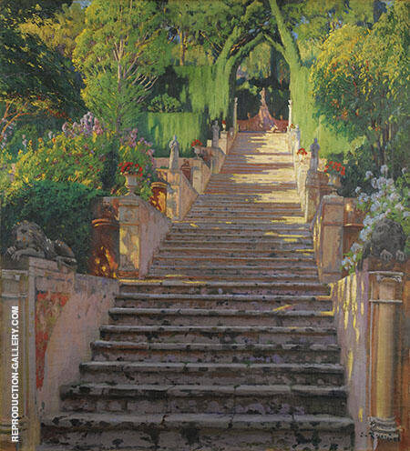 The Old Stairs Raixa Painting By Santiago Rusinol - Reproduction Gallery