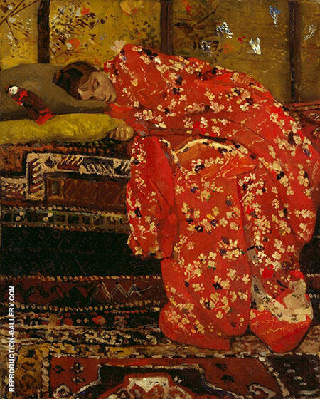 Girl in Red Kimono Painting By George Hendrik Breitner