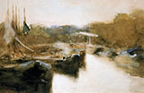 Moored Ships in City Canal By George Hendrik Breitner