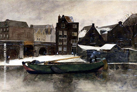 The Teertuinen in Winter Amsterdam By George Hendrik Brietner