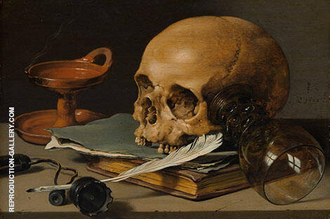 Still Life with a Skull and a Writing Quill 1628 By Pieter Claesz
