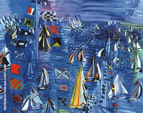 Regatta at Cowes 1934 Painting By Raoul Dufy - Reproduction Gallery