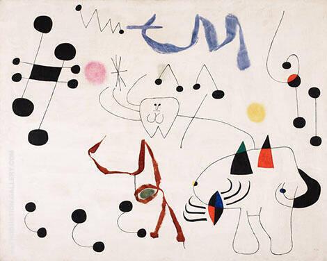 Mujer sonando con la evasion By Joan Miro