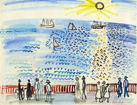 Promeneurs au bord de la mer au Havre1926 By Raoul Dufy