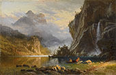 Indians Spear Fishing c1886 By Albert Bierstadt