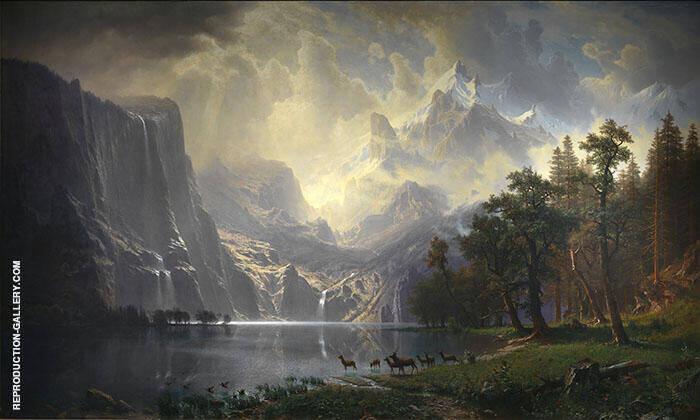 Among the Sierra Nevada Mountains 1868 Painting By Albert Bierstadt