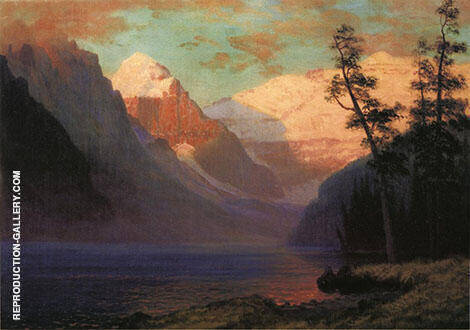 Evening Glow, Lake Louise, Rocky Mountains Painting By Albert Bierstadt