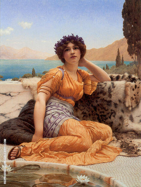 With Violets Wreathed and Saffron Hue By John William Godward