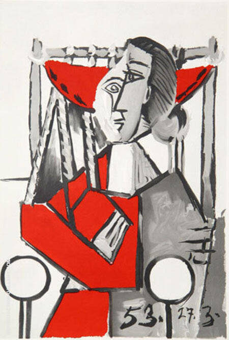 Femme Assise 1953 By Pablo Picasso
