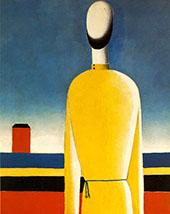 Half Figure in Yellow Shirt By Kazimir Malevich