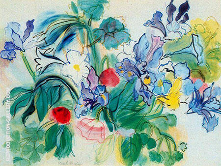 Bouquet of Lilies and Poppies Painting By Raoul Dufy