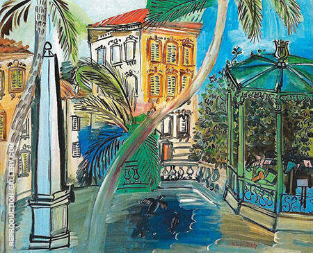 Hyeres Square The Obelisk and Bandstand 1927 Painting By Raoul Dufy