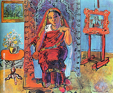 Interior with Indian Woman 1930 Painting By Raoul Dufy