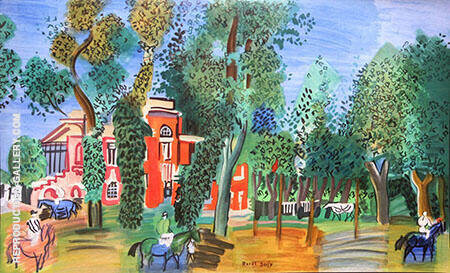 Paddock at Deau Ville Painting By Raoul Dufy - Reproduction Gallery
