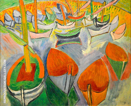 The Boats at Martigues 1907 Painting By Raoul Dufy - Reproduction Gallery