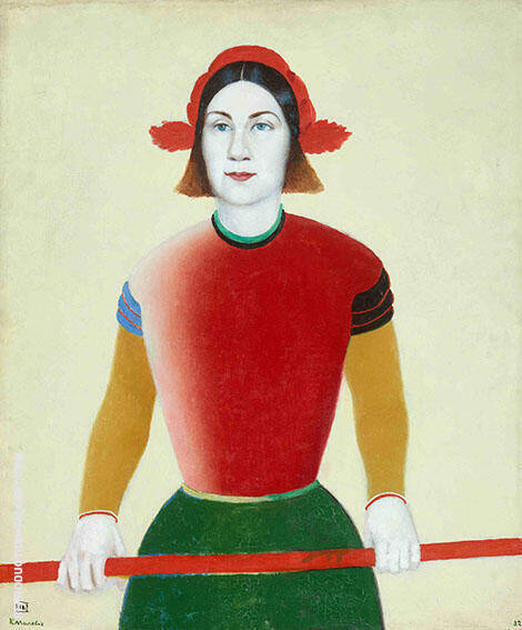 Girl with Red Pole1932 By Kazimir Malevich