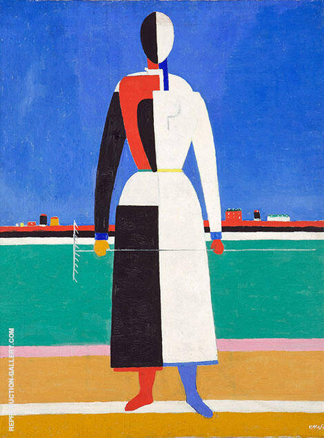 Woman with Rake 1930 Painting By Kazimir Malevich - Reproduction Gallery