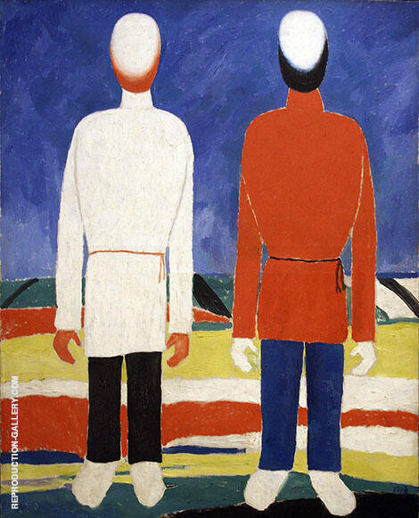 Two Male Figures By Kazimir Malevich