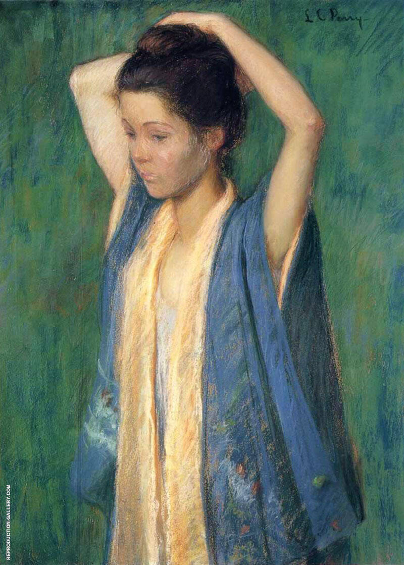Child in Kimono 1898 Painting By Lilla Cabot Perry - Reproduction Gallery